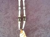 Quartz Necklace with Bone and Glass