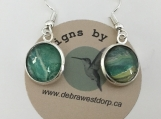 Silver & Green Pierced Earrings #3109