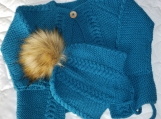 Size 6-12 months - Hand Knitted Teal Cabled Baby Jacket and Hat in Super wash Australian Wool