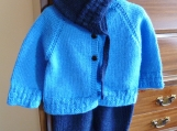 Size 6-12 mos ~ Hand Knit Baby Boy Cardigan, Overalls and Helmet in Blue & Navy Machine Washable Wool