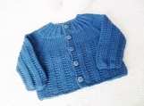 Size 6 mos Baby Textured Cardigan in  Extra Fine Merino Super Wash Wool. Hand knitted. Teal blue for baby boy or baby girl. Baby shower gift