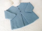 Size 6 mos Buttoned Yoke Long Sleeve Baby Jacket in Light Blue Soft Extra Fine Merino Super Wash Wool Suitable for Boy or Girl. Hand Knit