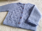 Size Newborn to 3  months - Hand Knitted Pale Cornflower blue Baby Girl or Boy Cardigan Sweater in fine Italian Merino wool. Baby Shower