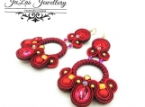 Soutache  Circle Earrings,Swarovski crystal Red Earrings Jewelry set for women, Gift for Valentine's Day