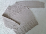 Toddler 2 to 3 years old - Hand Knit Textured Child's Beige Taupe Pullover in Cozy Washable Merino Wool