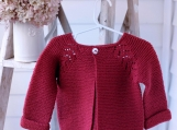 Toddler size 12-18 mos - Hand Knit Norwegian Fir Jacket/Cardigan in Berry Red 100% Machine Washable Wool