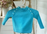 Toddler Size 12-18 mos - Hand Knitted Toddler Crew-Neck Pullover in Washable Turquoise Cashmere Merino Wool