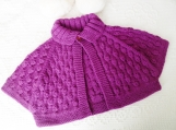 Toddler Size 12-24 mos Cozy Poncho / Bolero in Pretty Fuchsia Machine washable Merino cashmere blend wool. 1 to 2 year old