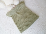 Toddler Size 12 months Reversible Short Sleeved Tunic Top in Mint Green Super Wash Extra Fine Merino Wool Hand Knitted. 1 Year Old