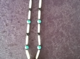 Turquoise Necklace with Bone and Black Jasper