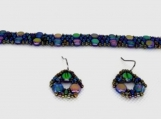 Unique and Intricate Handmade Beaded Bracelet and Earring Set