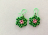 Green and Pink Flowers Earrings