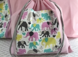 Kids Theme Pillowcase and Drawstring Bag - Playful Elephants