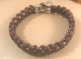 Leather bracelet - brown and camo