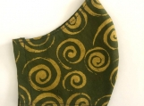 Olive Green and Gold Swirls Mask