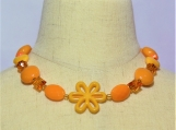 Orange Flower Children Necklace