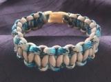 Paracord bracelet beige/turquoise