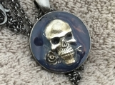 Pendant Necklace N Skull with Rose #3099