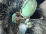 Peruvian opal and Turquoise Silver Wrapped Nested Ring