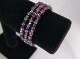 Purple Glass Bead and Iridescent Rondelle Elastic Bracelet