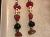 Red agate skulls