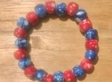 Red, white, blue stretch beaded bracelet