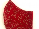 Red & Tan Batik Mask