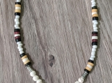 Wood and bone beads pendant necklace
