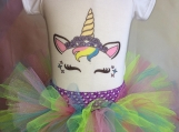 Unicorn Onesie and Multi-colored Tutu (Size 6-9 months)