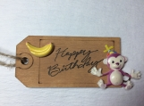 Wooden gift tag Happy Birthday
