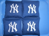 Blue Embroidered New York  Corn hole Bags