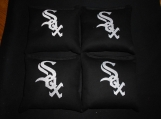 Embroidered Sox  Black Corn hole Bags