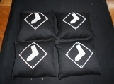 Embroidered Black with  White Sox  Corn hole Bags