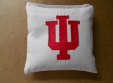 White  Indiana Universty Embroidered  Corn hole Bags