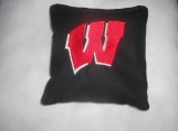 Wisconsin Black  Red W  Embroidered  Corn hole Bags