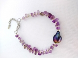 Amethyst chip Bracelet with Baroque Pearl Center