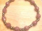 Bracelet - pink faceted/brown