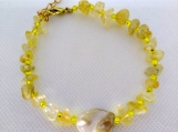 Chan Luu Inspired Citrine Chip Bracelet with Shell Center