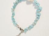 Light Aqua Quartz and Baroque Pearl Bracelet