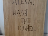 Alexa wash the dishes, bamboo cutting board,Custom Engraved Family Recipe Cutting Board,birthday Gift,Handwritten Recipe funny Cutting Board
