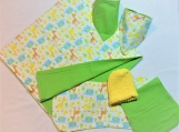 Babyshower gift set (blanket, burpcloth, bandana, hat)