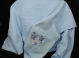 Blue Fleece Baby Blanket With Embroidered Butterflies
