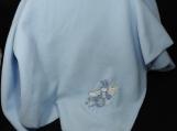 Blue Fleece Baby Blanket With Embroidered Flying Bunny Rabbit