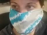 blue green 5 pack,adult reusable face mask,handmade,washable