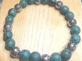 Bracelet - jade/silver beaded