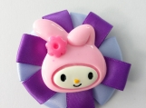 Bunny purple flower hair bow
