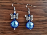 Butterfly and Blue drop earrings
