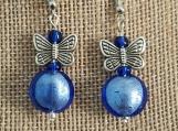 Butterfly and Blue drop earrings