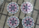 Ceramic Mandala Coasters- set of 4