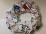 coffee cups scrunchies set of 3,oversized hair scrunchy set of 3